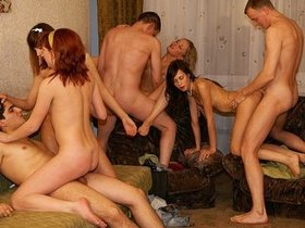 College party gangbang for redhead slut