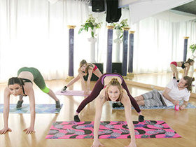 Three sexy yoga bitches fuck one lucky guy